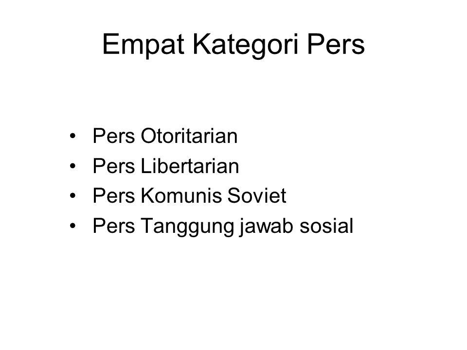 Empat Kategori Pers Pers Otoritarian Pers Libertarian