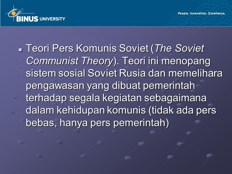 Teori Pers Komunis Soviet (The Soviet Communist Theory)