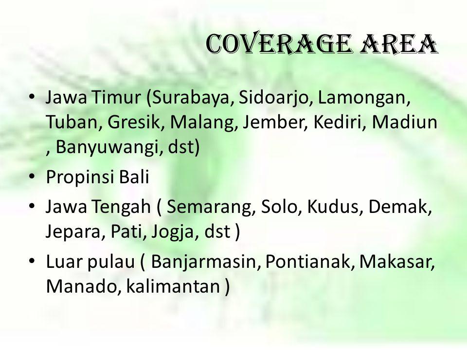 COVERAGE AREA Jawa Timur (Surabaya, Sidoarjo, Lamongan, Tuban, Gresik, Malang, Jember, Kediri, Madiun , Banyuwangi, dst)