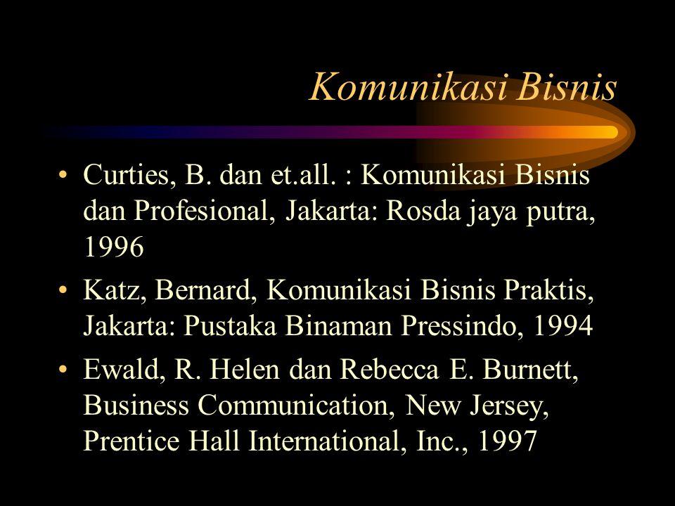 Komunikasi Bisnis Curties, B. dan et.all. : Komunikasi Bisnis dan Profesional, Jakarta: Rosda jaya putra, 1996.