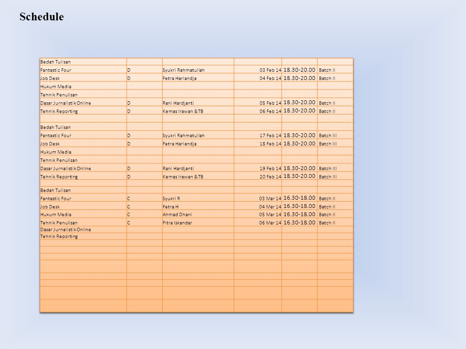 Schedule 18.30-20.00 16.30-18.00 18.30-20.00 16.30-18.00 Bedah Tulisan
