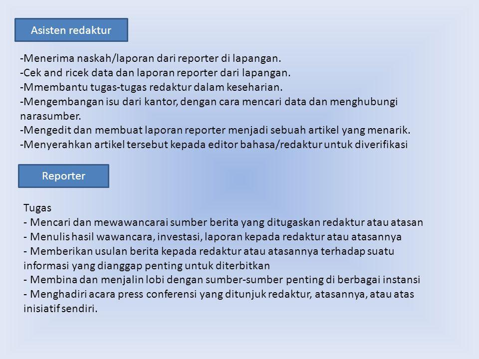 Asisten redaktur -Menerima naskah/laporan dari reporter di lapangan. -Cek and ricek data dan laporan reporter dari lapangan.