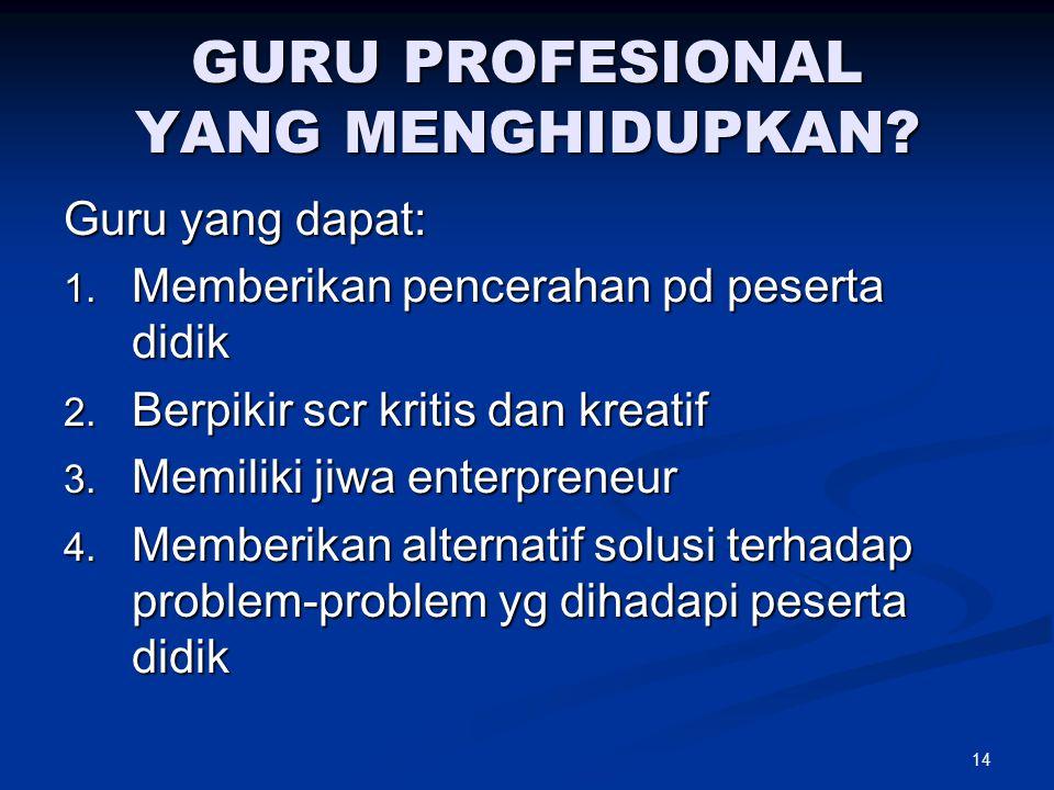 GURU PROFESIONAL YANG MENGHIDUPKAN