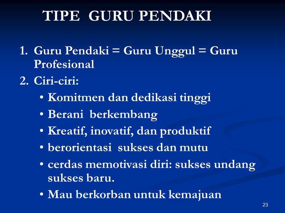TIPE GURU PENDAKI Guru Pendaki = Guru Unggul = Guru Profesional
