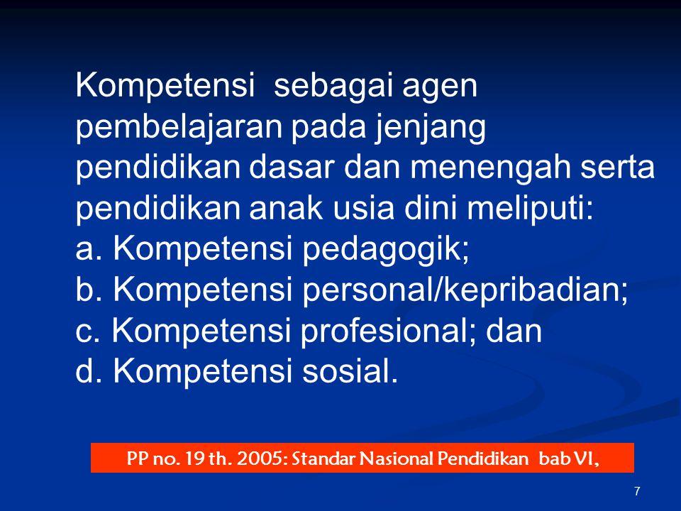 PP no. 19 th. 2005: Standar Nasional Pendidikan bab VI,