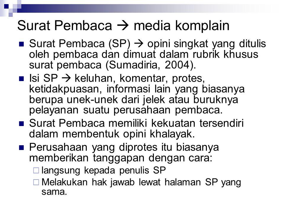 Surat Pembaca  media komplain
