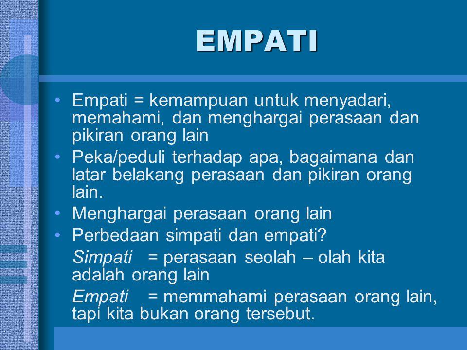 EMPATI Empati = kemampuan untuk menyadari, memahami, dan menghargai perasaan dan pikiran orang lain.
