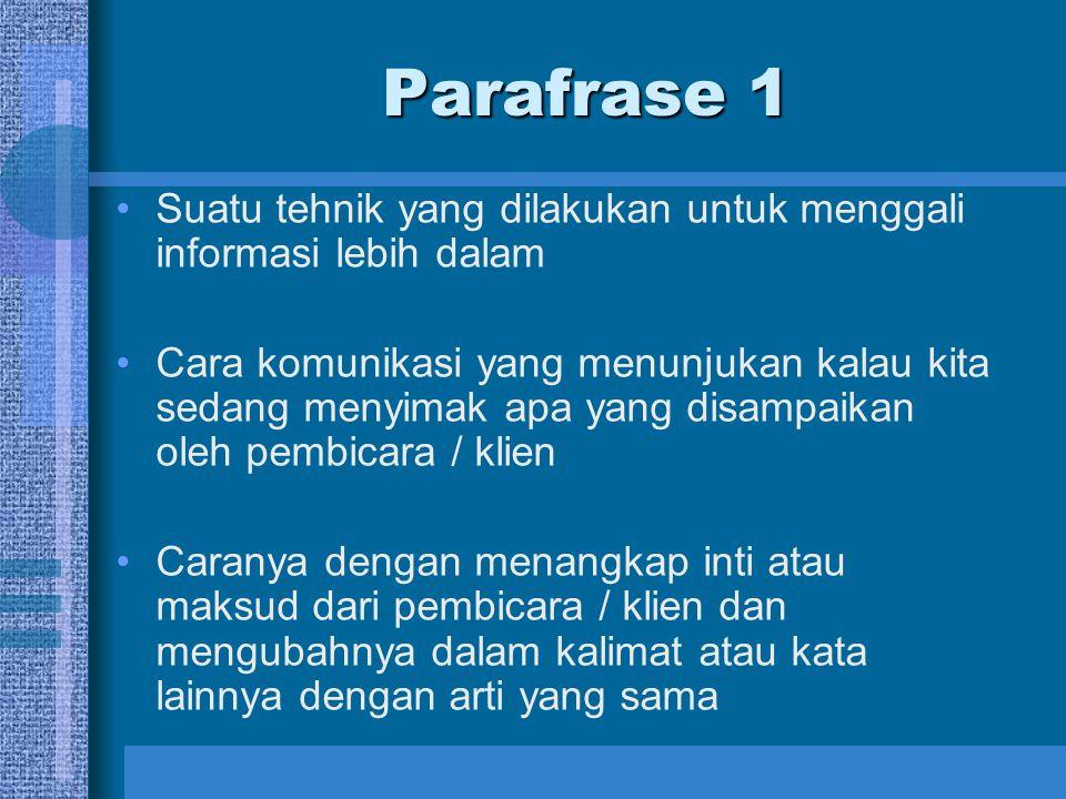 Parafrase 1 Suatu tehnik yang dilakukan untuk menggali informasi lebih dalam.