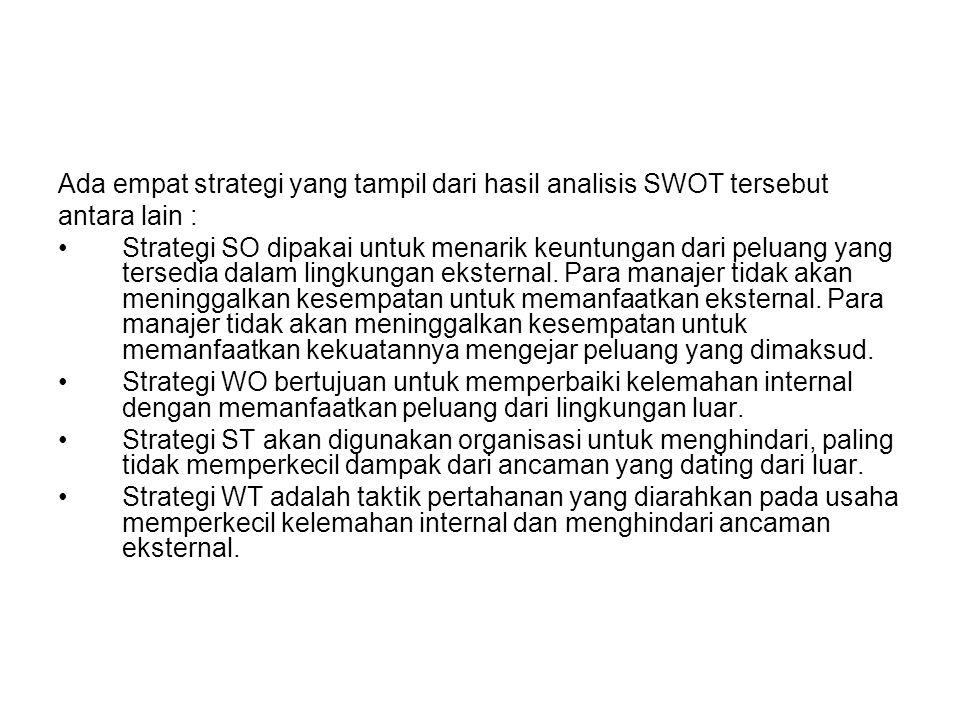 Ada empat strategi yang tampil dari hasil analisis SWOT tersebut