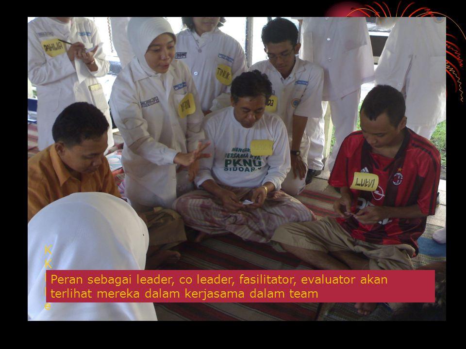 KKKKe Peran sebagai leader, co leader, fasilitator, evaluator akan terlihat mereka dalam kerjasama dalam team.
