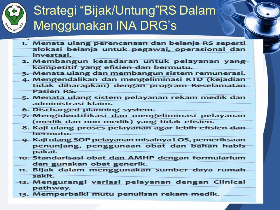 Strategi Bijak/Untung RS Dalam Menggunakan INA DRG's