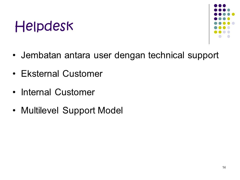 Helpdesk Jembatan antara user dengan technical support