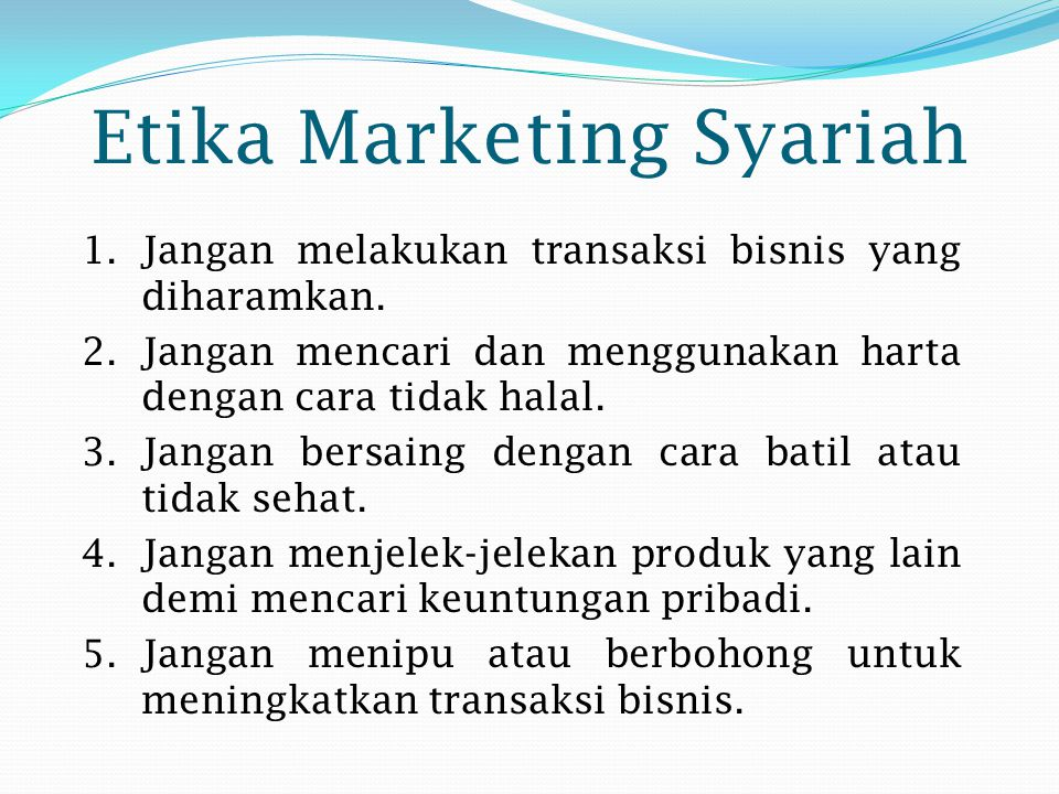 Etika Marketing Syariah