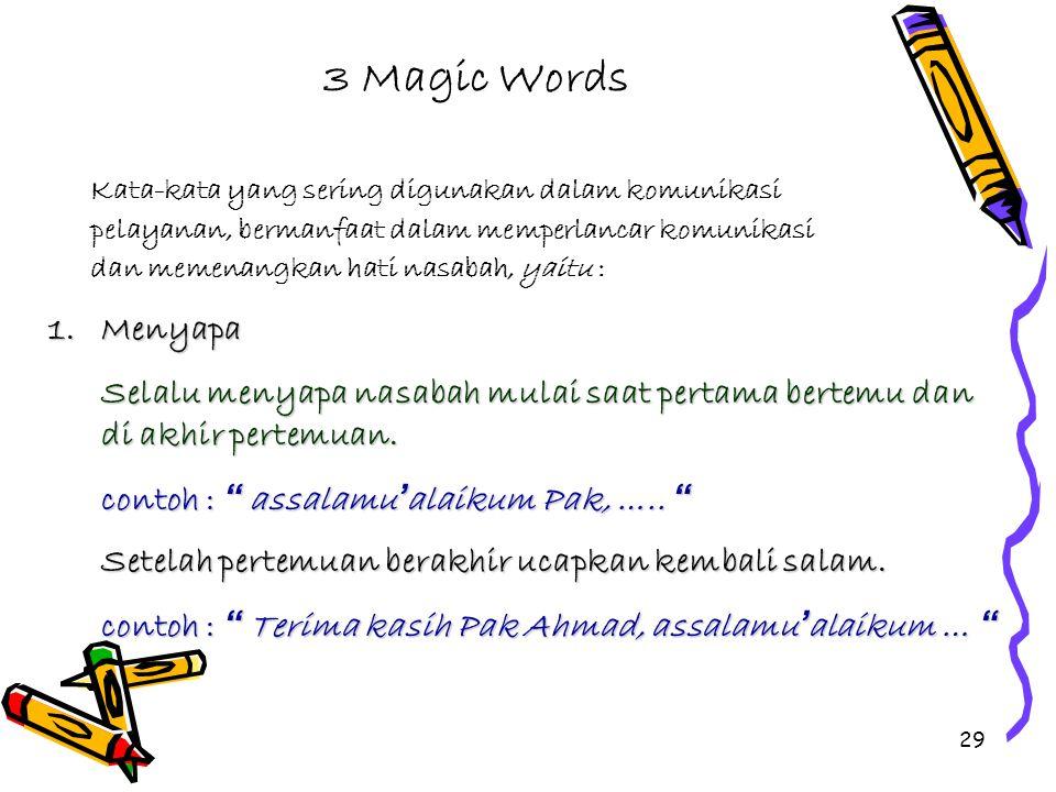 3 Magic Words Kata-kata yang sering digunakan dalam komunikasi. pelayanan, bermanfaat dalam memperlancar komunikasi.