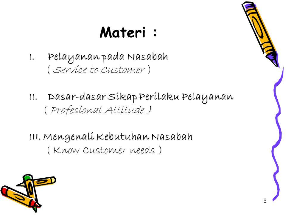 Materi : Pelayanan pada Nasabah ( Service to Customer )