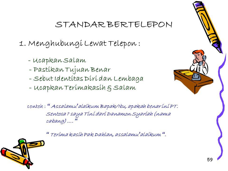 STANDAR BERTELEPON 1. Menghubungi Lewat Telepon :