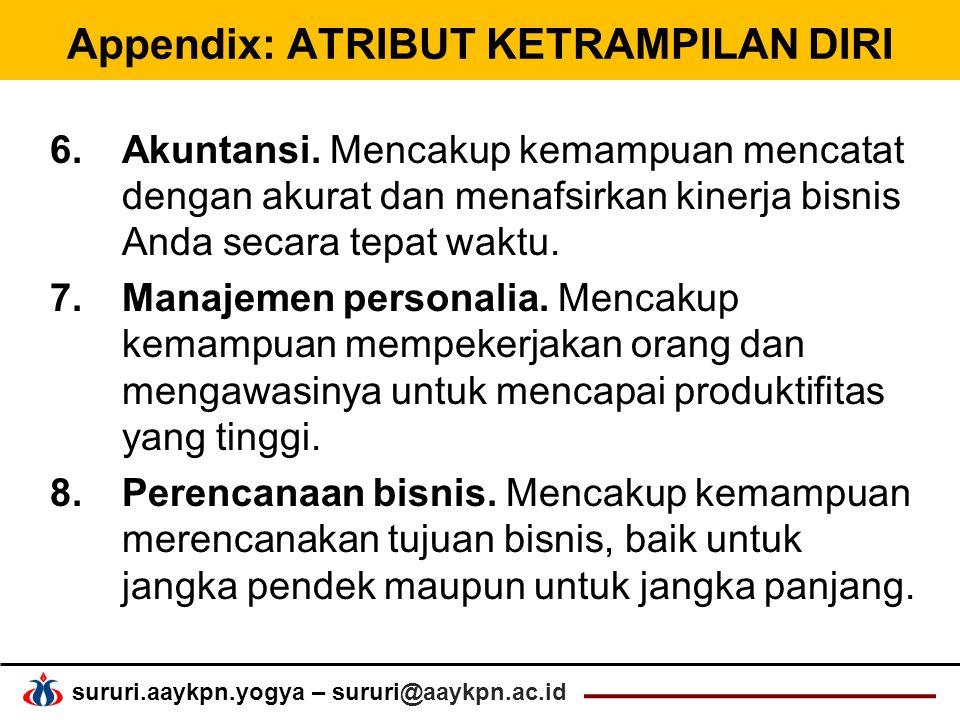 Appendix: ATRIBUT KETRAMPILAN DIRI