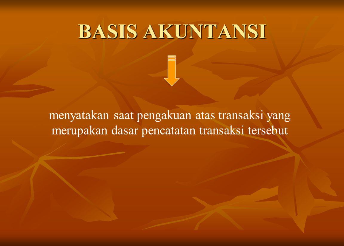BASIS AKUNTANSI menyatakan saat pengakuan atas transaksi yang merupakan dasar pencatatan transaksi tersebut.