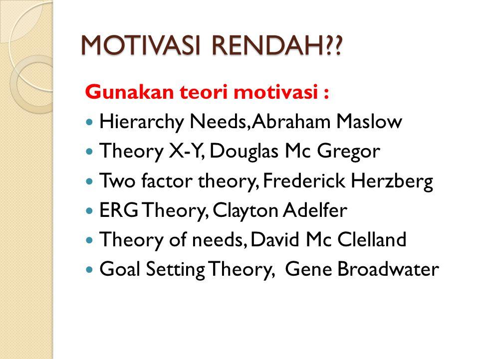 MOTIVASI RENDAH Gunakan teori motivasi :