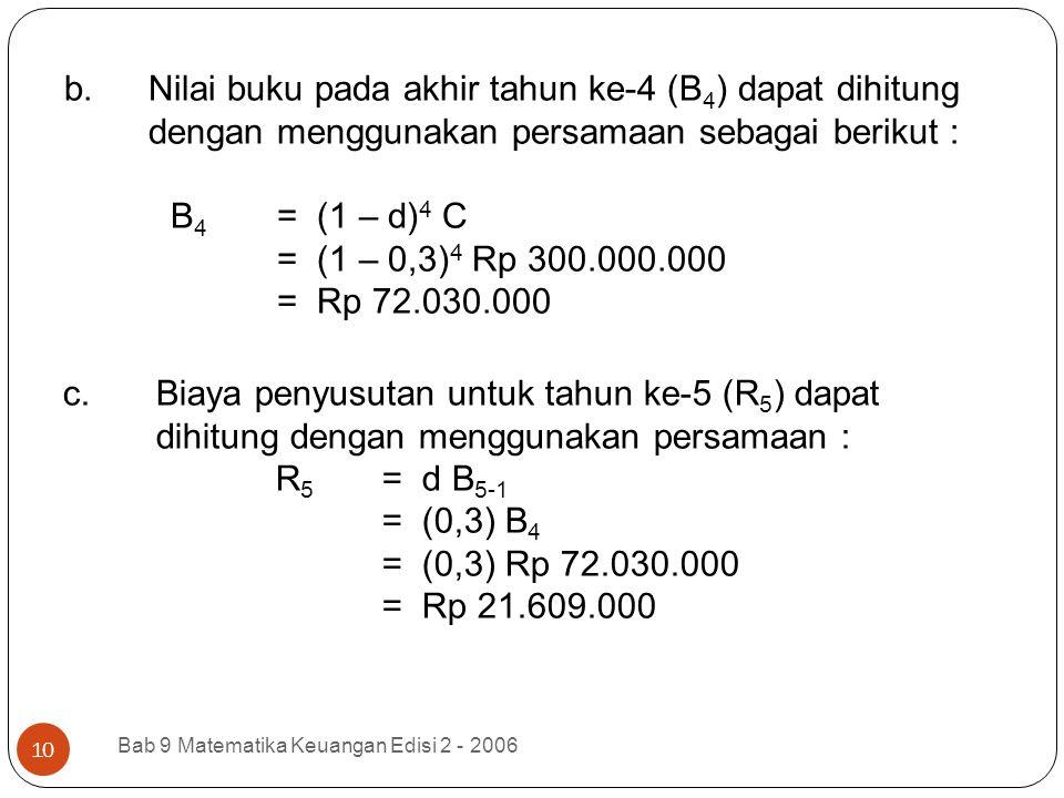 Nilai buku pada akhir tahun ke-4 (B4) dapat dihitung dengan menggunakan persamaan sebagai berikut : B4 = (1 – d)4 C = (1 – 0,3)4 Rp 300.000.000 = Rp 72.030.000