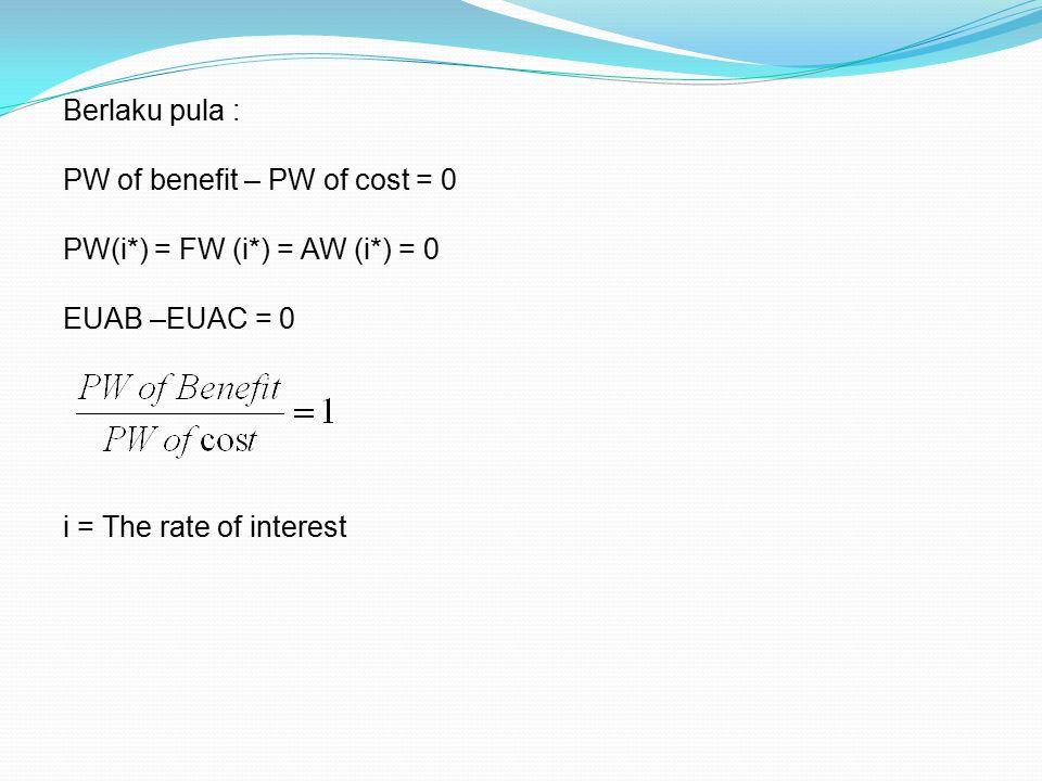 Berlaku pula : PW of benefit – PW of cost = 0. PW(i*) = FW (i*) = AW (i*) = 0.