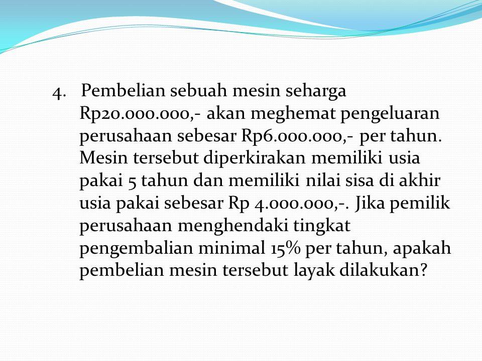 4. Pembelian sebuah mesin seharga Rp20. 000