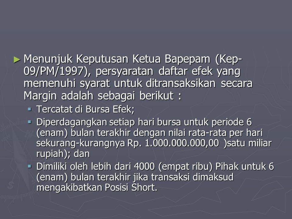 Menunjuk Keputusan Ketua Bapepam (Kep-09/PM/1997), persyaratan daftar efek yang memenuhi syarat untuk ditransaksikan secara Margin adalah sebagai berikut :