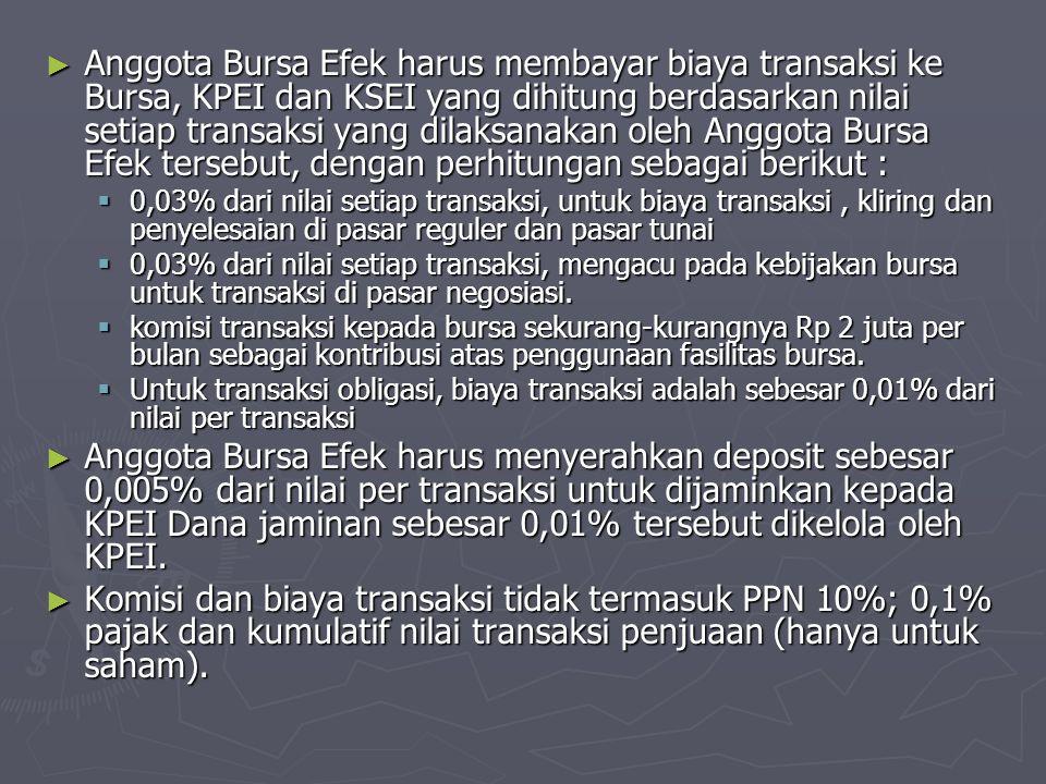 Anggota Bursa Efek harus membayar biaya transaksi ke Bursa, KPEI dan KSEI yang dihitung berdasarkan nilai setiap transaksi yang dilaksanakan oleh Anggota Bursa Efek tersebut, dengan perhitungan sebagai berikut :