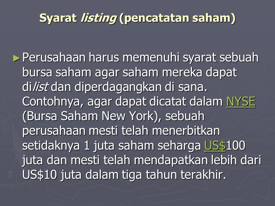 Syarat listing (pencatatan saham)