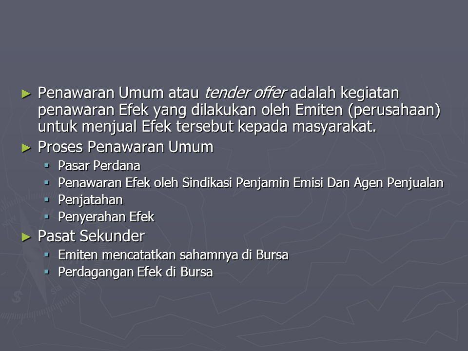 Penawaran Umum atau tender offer adalah kegiatan penawaran Efek yang dilakukan oleh Emiten (perusahaan) untuk menjual Efek tersebut kepada masyarakat.