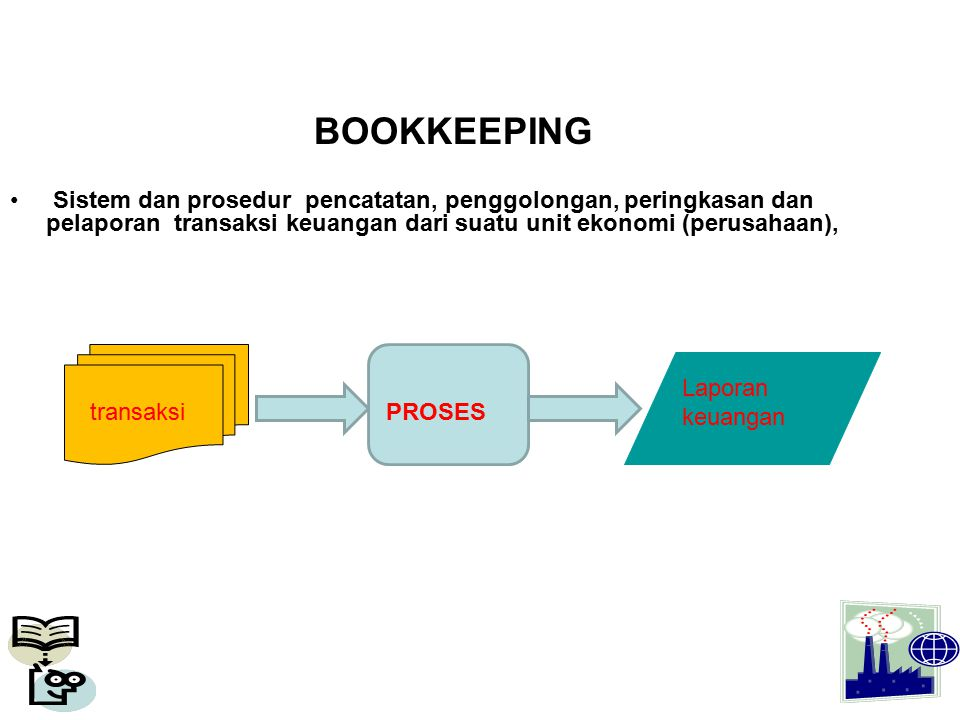 BOOKKEEPING Sistem dan prosedur pencatatan, penggolongan, peringkasan dan pelaporan transaksi keuangan dari suatu unit ekonomi (perusahaan),