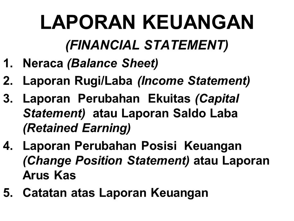 (FINANCIAL STATEMENT)