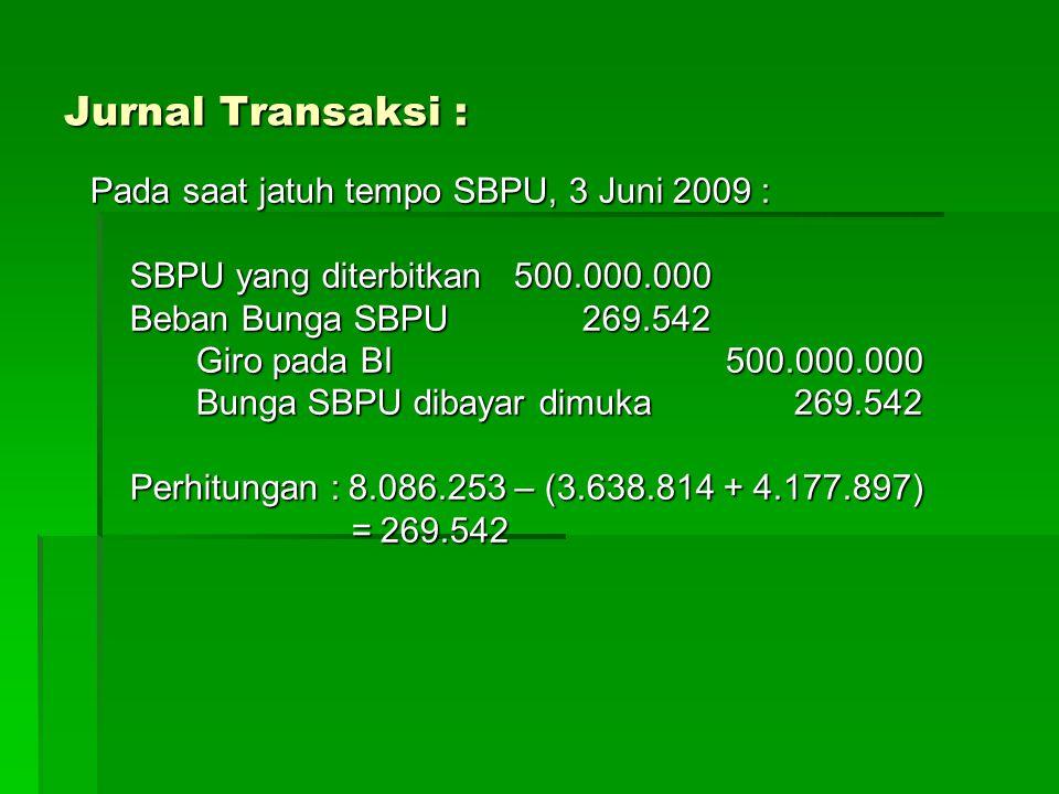 Jurnal Transaksi : Pada saat jatuh tempo SBPU, 3 Juni 2009 :