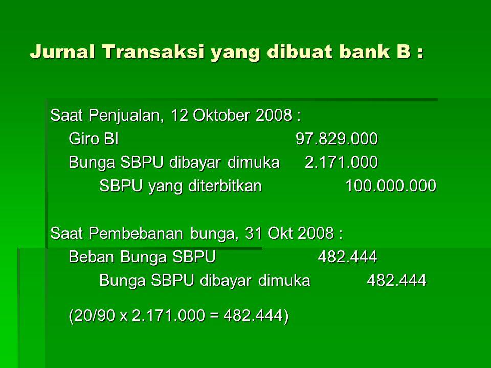 Jurnal Transaksi yang dibuat bank B :