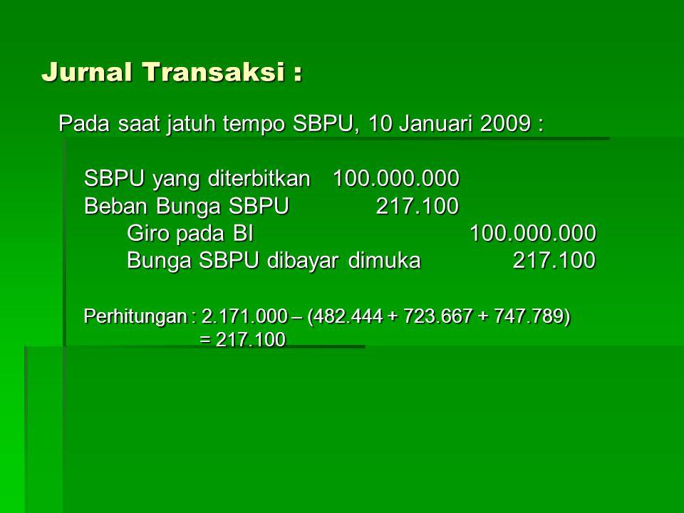 Jurnal Transaksi : Pada saat jatuh tempo SBPU, 10 Januari 2009 :
