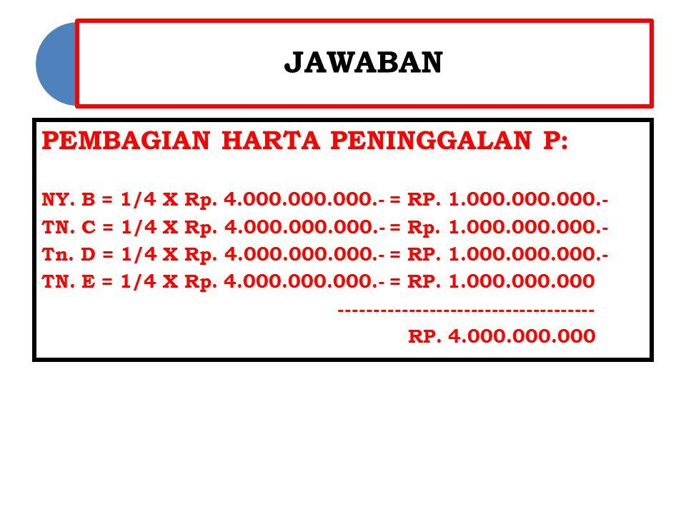 JAWABAN PEMBAGIAN HARTA PENINGGALAN P: