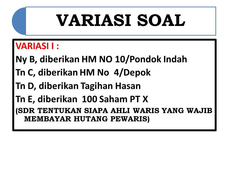 Ny B, diberikan HM NO 10/Pondok Indah Tn C, diberikan HM No 4/Depok