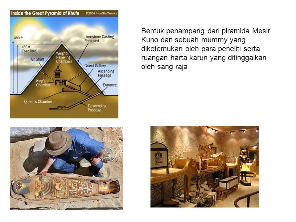 Bentuk penampang dari piramida Mesir Kuno dan sebuah mummy yang diketemukan oleh para peneliti serta ruangan harta karun yang ditinggalkan oleh sang raja
