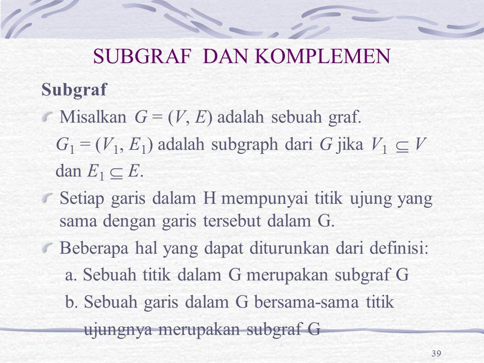 SUBGRAF DAN KOMPLEMEN Subgraf Misalkan G = (V, E) adalah sebuah graf.