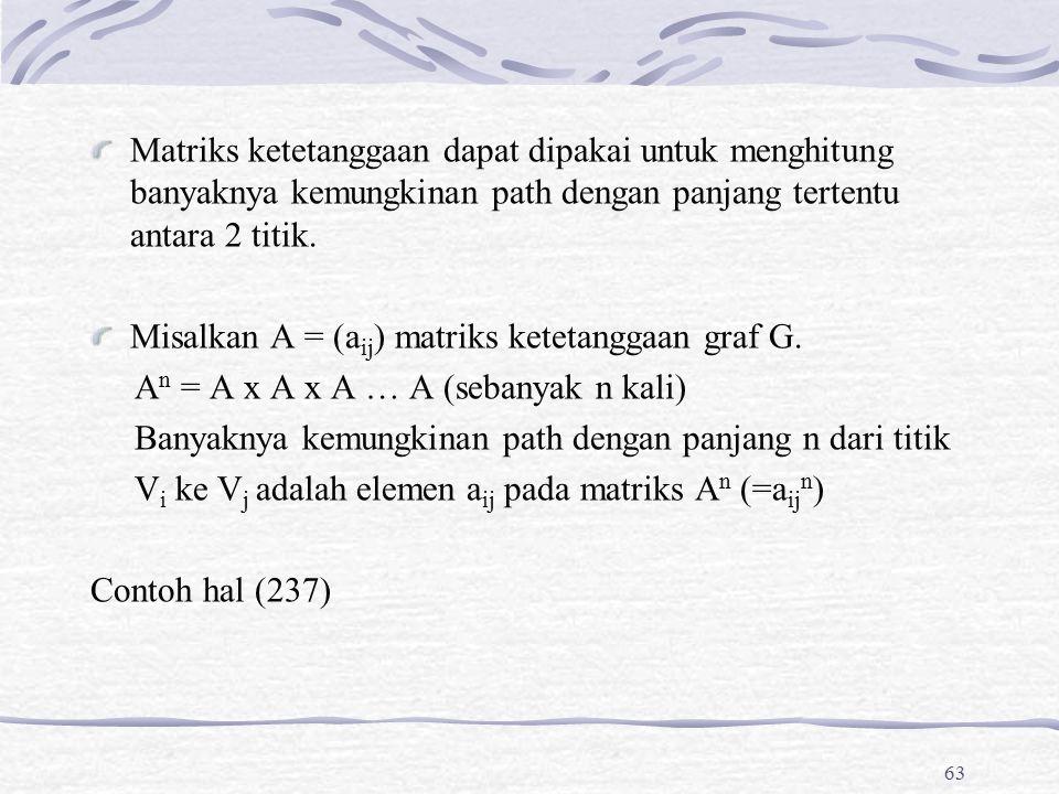 Matriks ketetanggaan dapat dipakai untuk menghitung banyaknya kemungkinan path dengan panjang tertentu antara 2 titik.