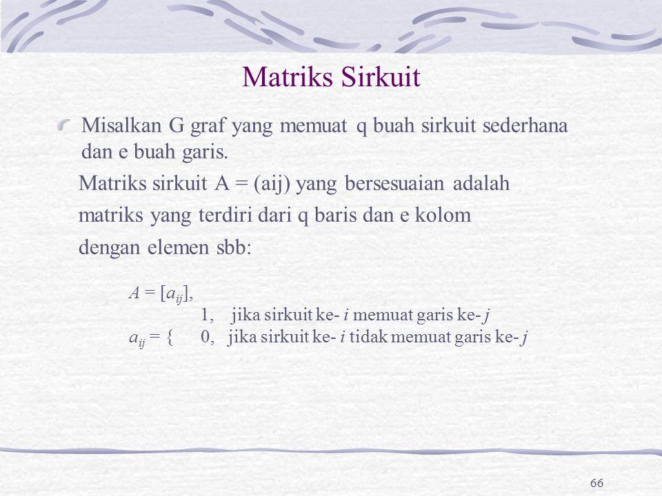 Matriks Sirkuit Misalkan G graf yang memuat q buah sirkuit sederhana dan e buah garis. Matriks sirkuit A = (aij) yang bersesuaian adalah.