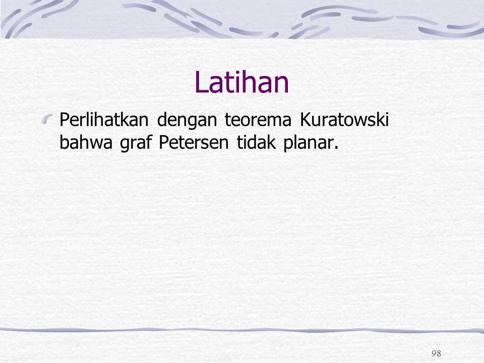 Latihan Perlihatkan dengan teorema Kuratowski bahwa graf Petersen tidak planar.