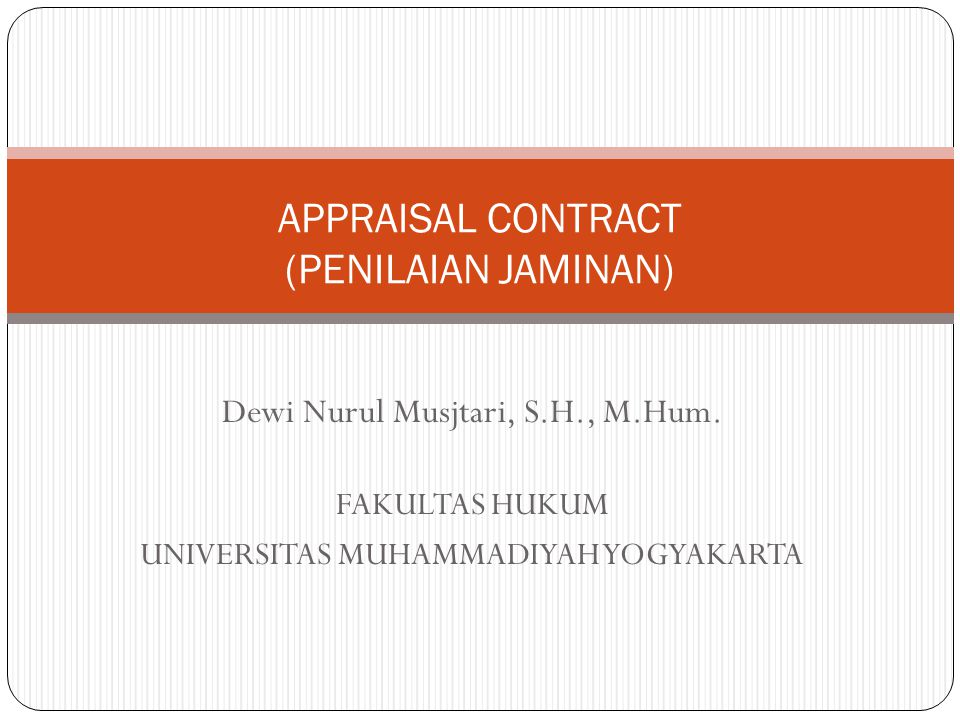 APPRAISAL CONTRACT (PENILAIAN JAMINAN)
