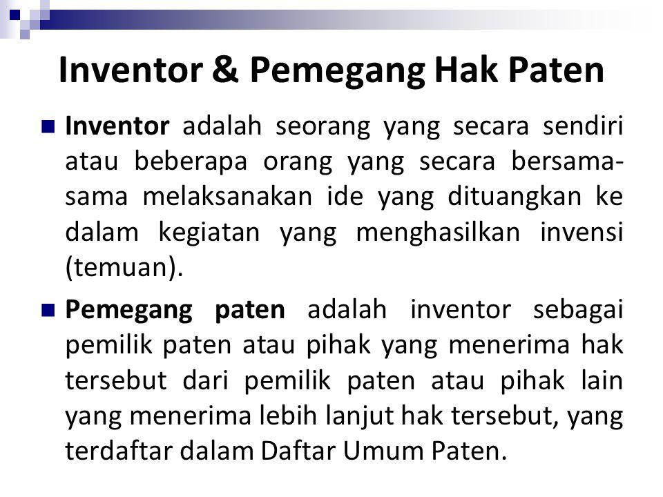 Inventor & Pemegang Hak Paten