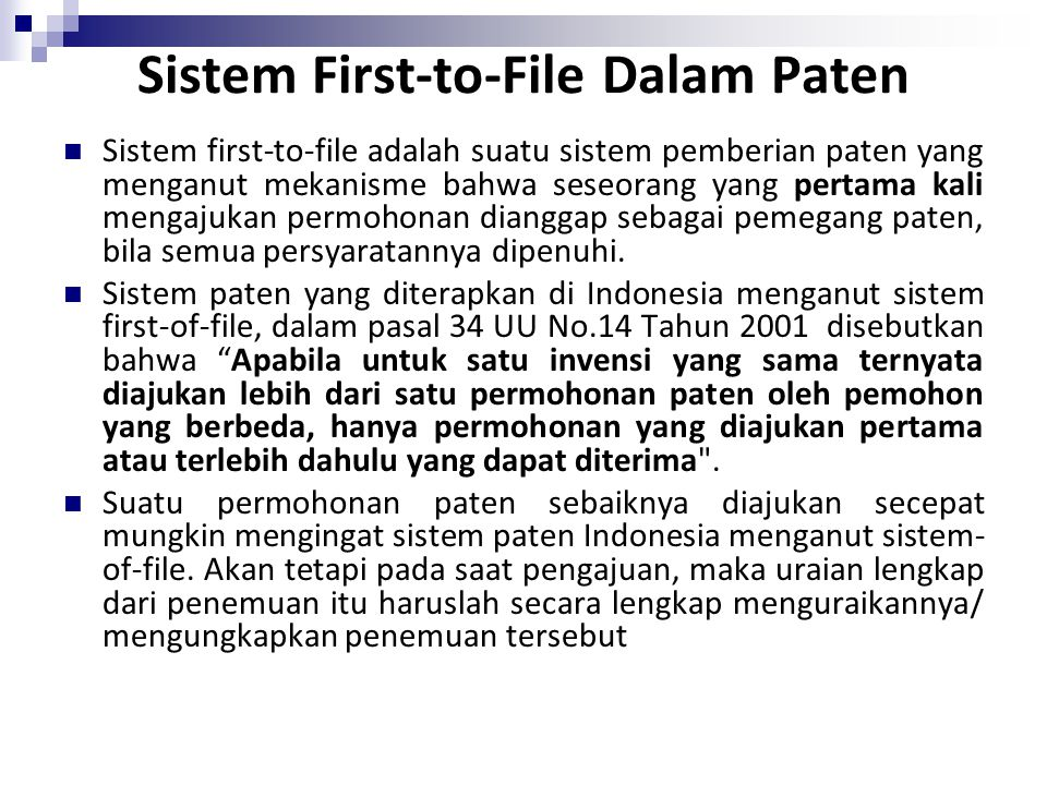 Sistem First-to-File Dalam Paten