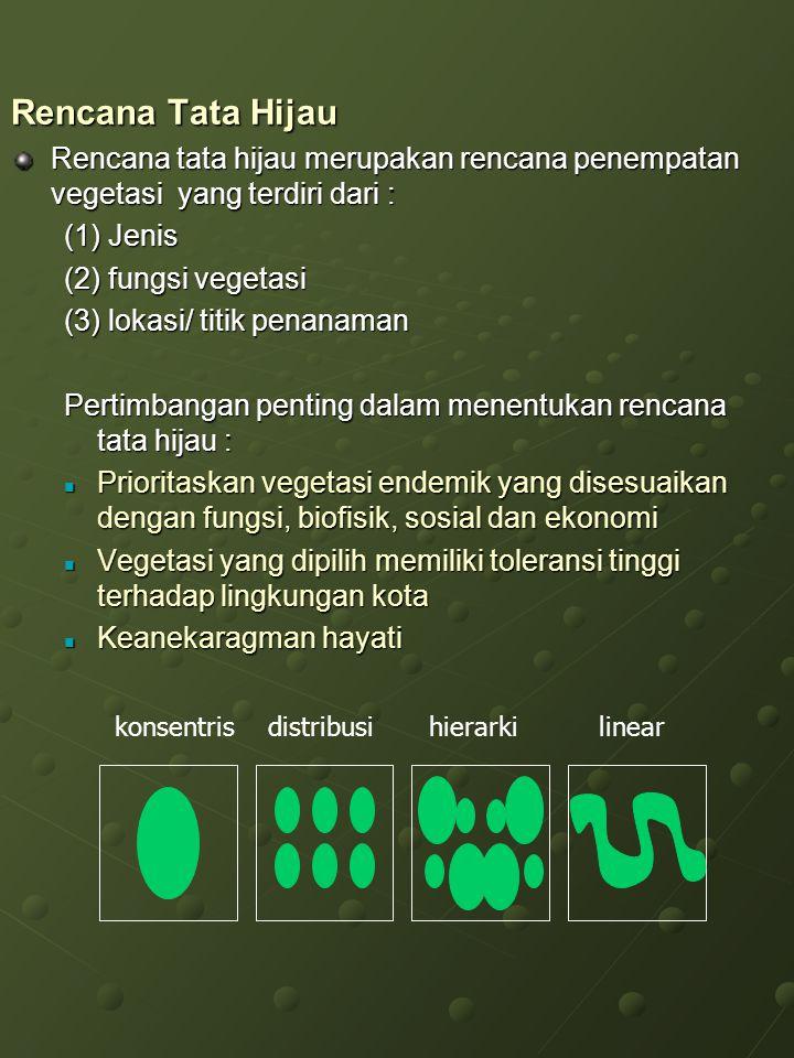 Rencana Tata Hijau Rencana tata hijau merupakan rencana penempatan vegetasi yang terdiri dari : (1) Jenis.