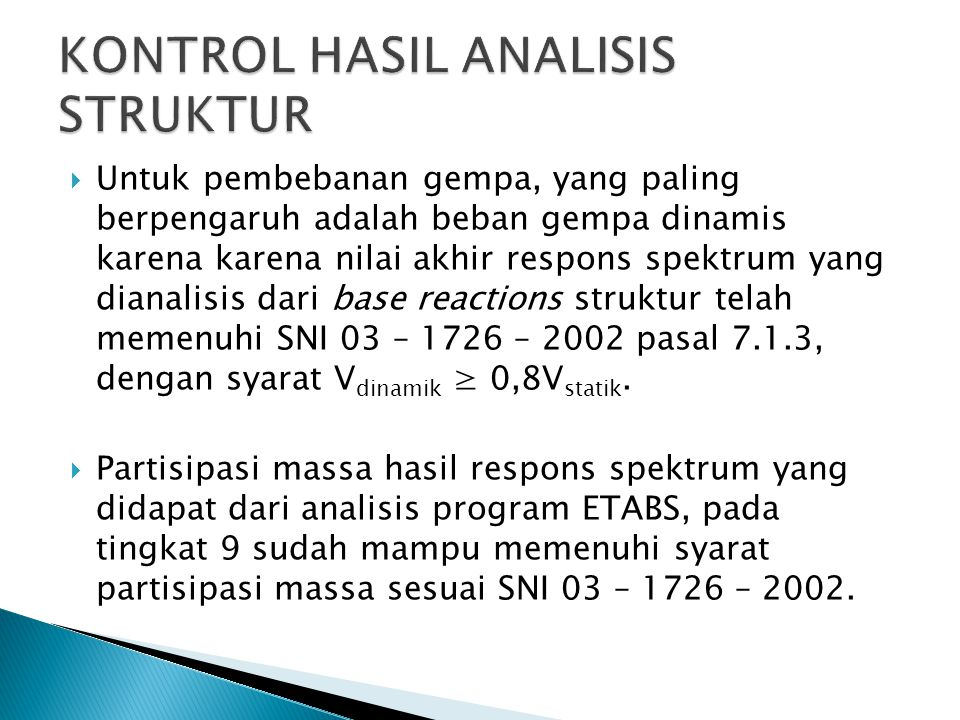 KONTROL HASIL ANALISIS STRUKTUR