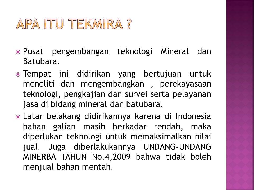 Apa itu Tekmira Pusat pengembangan teknologi Mineral dan Batubara.