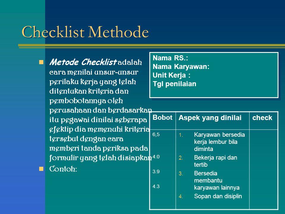 Checklist Methode Nama RS.: Nama Karyawan: Unit Kerja : Tgl penilaian.