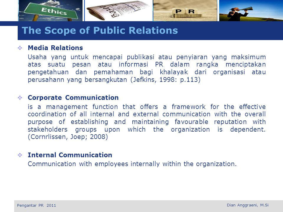The Scope of Public Relations